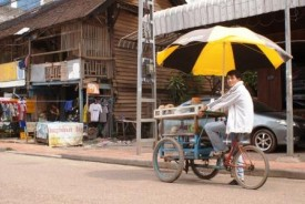 Bicycle fruit-seller in Vientaine, Laos