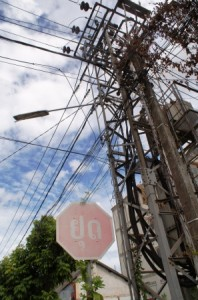 Vientaine Laos stop sign and electric wires