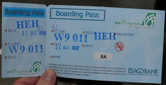 Air Bagan boarding pass