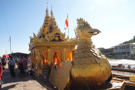 An elaborate raft is ready to transport one of Buddha's teeth from a temple in Nyaung Shwe to one of four other towns on the lake that take turns with the relic.