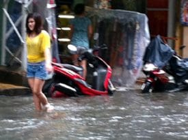 Flood on Bui Vien Street in Saigon, Vietnam