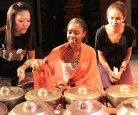 In an afternoon workshop, the gamelan group, Rhythm in Brass invited festival-goers to try out their instruments. In an afternoon workshop, the gamelan group, Rhythm in Brass invited festival-goers to try out their instruments.
