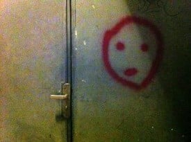 Outside a locked room that was once a third-floor bar at the Crazy Buffalo, I discovered this apparition.