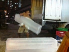 Watching this guy do his late-night ice delivery job reminds me to appreciate my career as a writer.