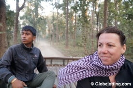 Kattina feels the wind in her hair on a rooftop ride in Chitwan National Park.