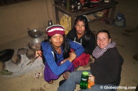 Our homestay hosts cooked us dinner over a fire on the dirt floor of their kitchen. In spite of a thick language barrier, we hung out with them until late into the evening.