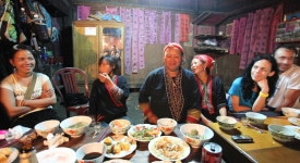 Dinner at a homestay near Sapa after a long day of trekking.