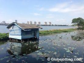 A fisherman's shack in Hanoi's Tây Hồ neighborhood.