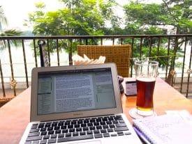 Laptop at Tay Ho, Hanoi, Vietnam