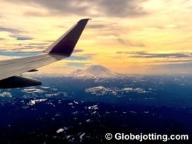 airplane over Mount Rainier