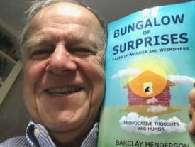 "Barclay henderson, author of ""A Bungalow of Surprises,"" gives his new book a hug."