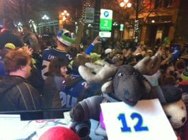 Globejotting mascot Sven Wondermoose is gearing up for the 2014 Superbowl as the Seattle Seahawks play the Denver Broncos.