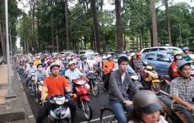 Learning to ride a motorbike in Saigon traffic ... still terrifies me.