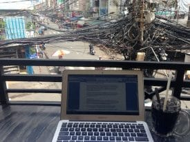 The view of Bùi Viện Street from one of my many makeshift offices.