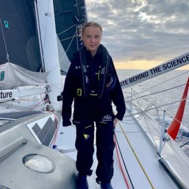 Greta Thunberg sailed from Stockholm to New York on a zero-emissions sailboat.